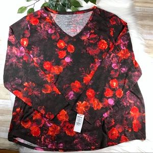 Sonoma Floral Long Sleeve V-neck Shirt Sz 4X NWT